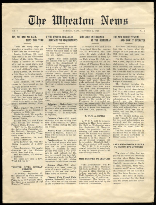 Wheaton College NEWS Norton MA 10/2 1923 club requirements; YWCA notes