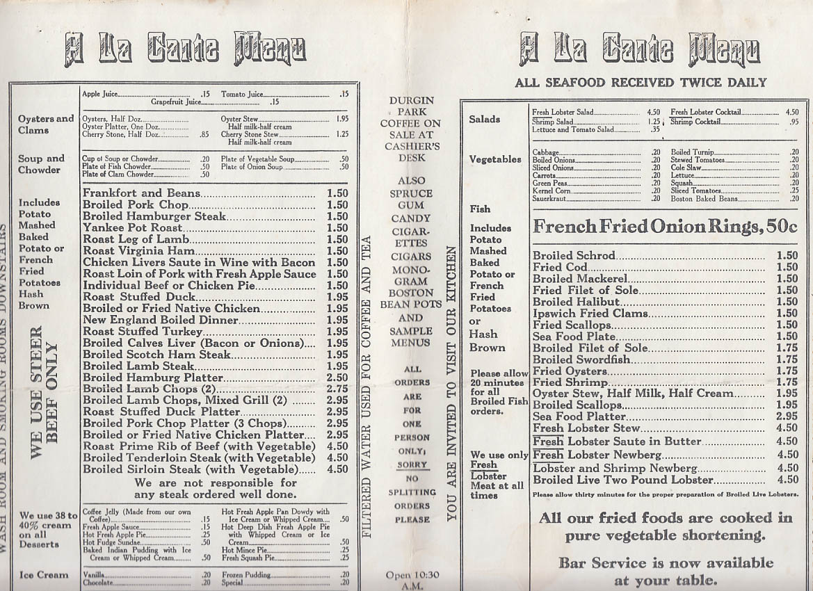 durgin-park market dining rooms menu boston ma ca 1940s