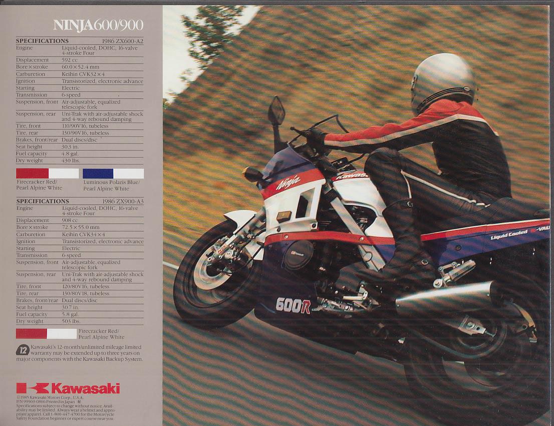 1985 Kawasaki Ninja 600 & 900 motorcycle sales folder