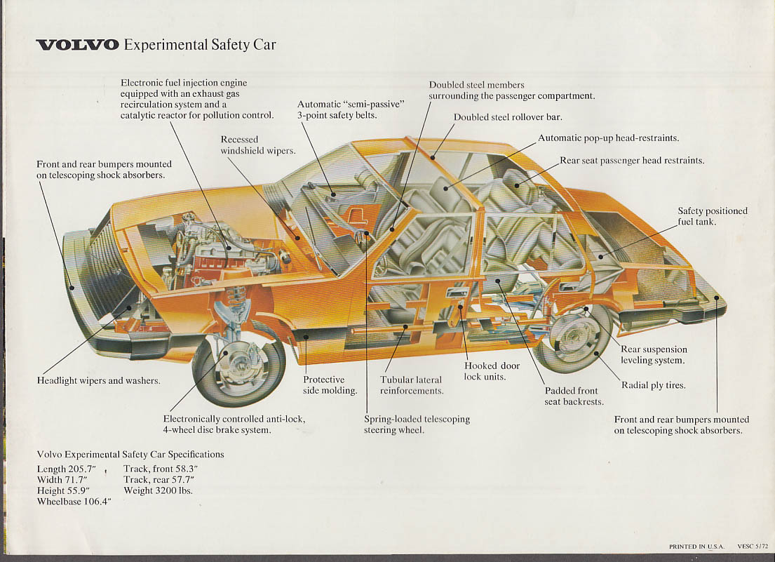1972 Volvo Experimental Safety Car sales folder