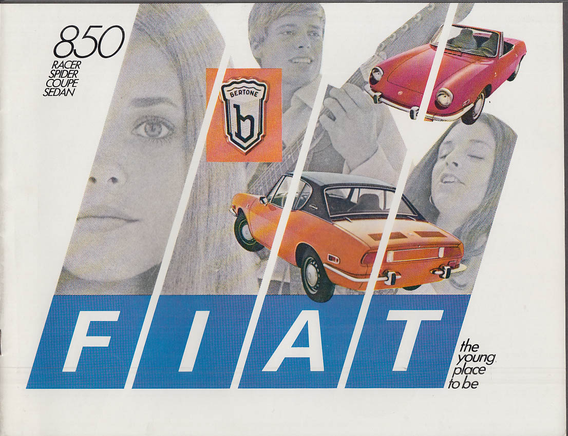 1970 Fiat 850 Racer Spider Coupe Sedan sales brochure w/ Federal Consumer Info