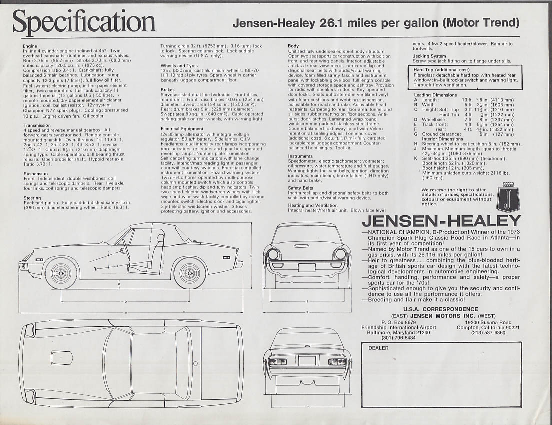 1974 Jensen-Healey sell sheet 26.1 MPG