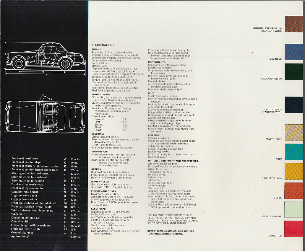 1972 MG Midget sales brochure dated 10/71