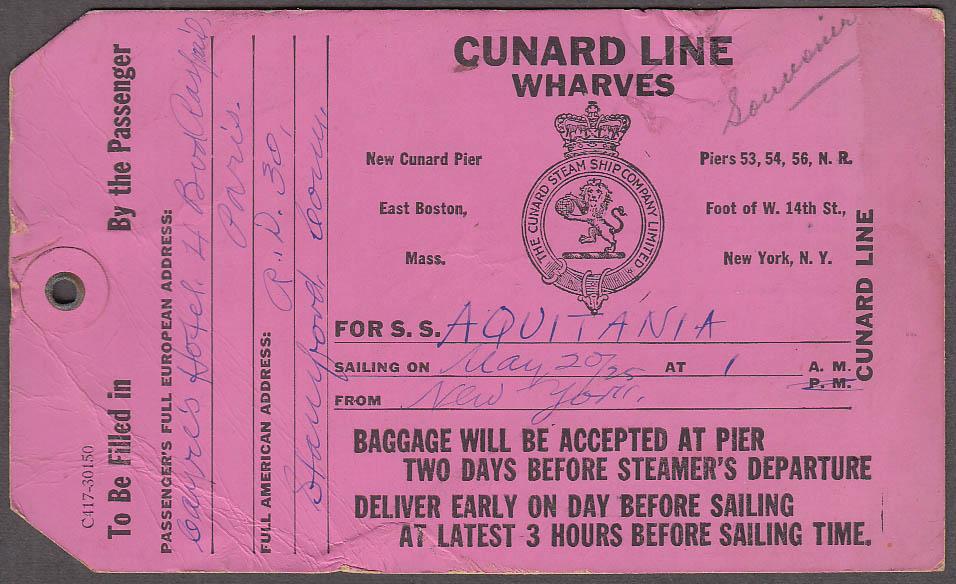 Cunard R M S Aquitania Baggage Tag for Paris offloading ca 1920