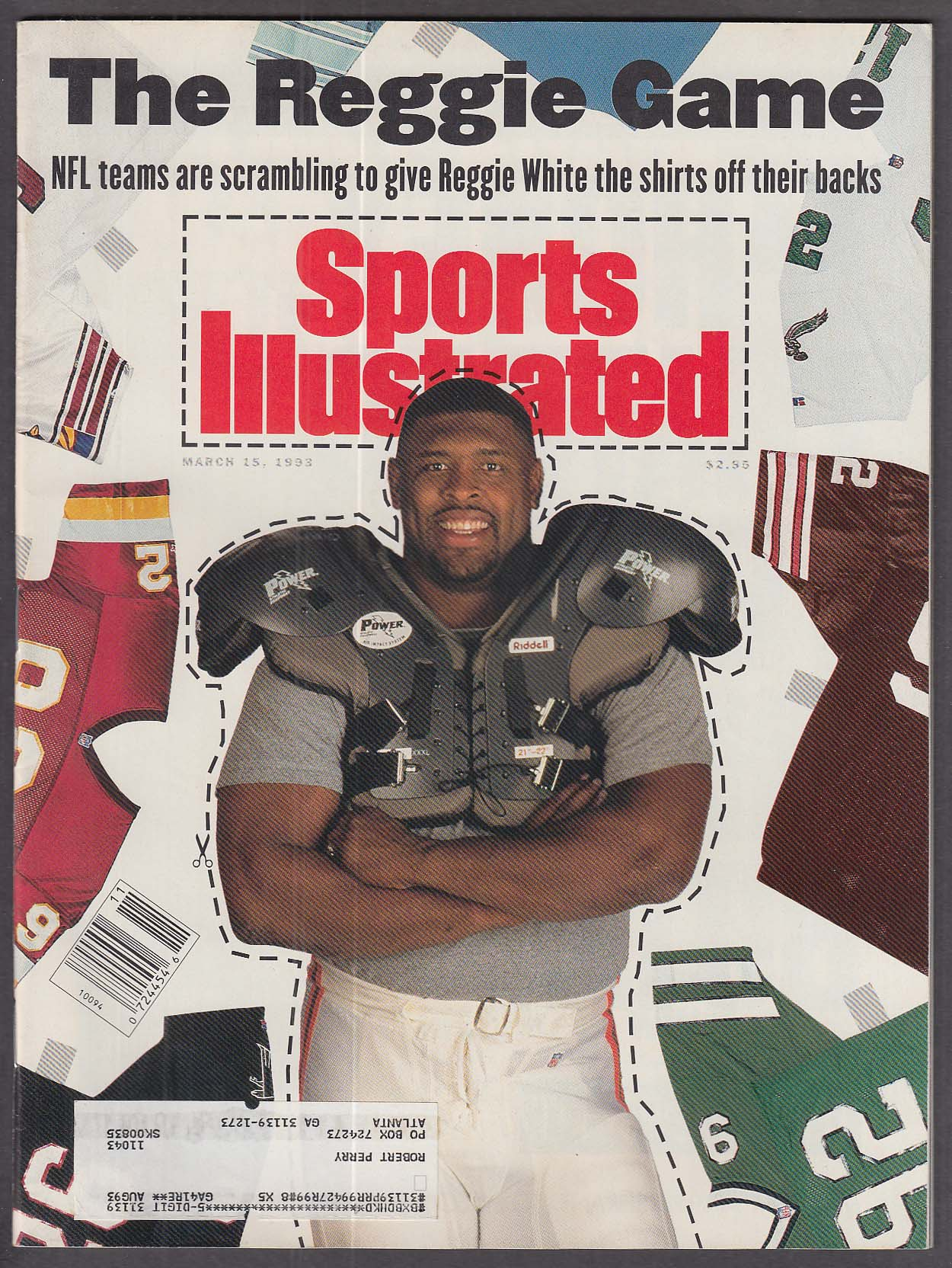 SPORTS ILLUSTRATED Reggie White Billy McCaffrey JT Snow Tim Salmon ++ 3/15 1993