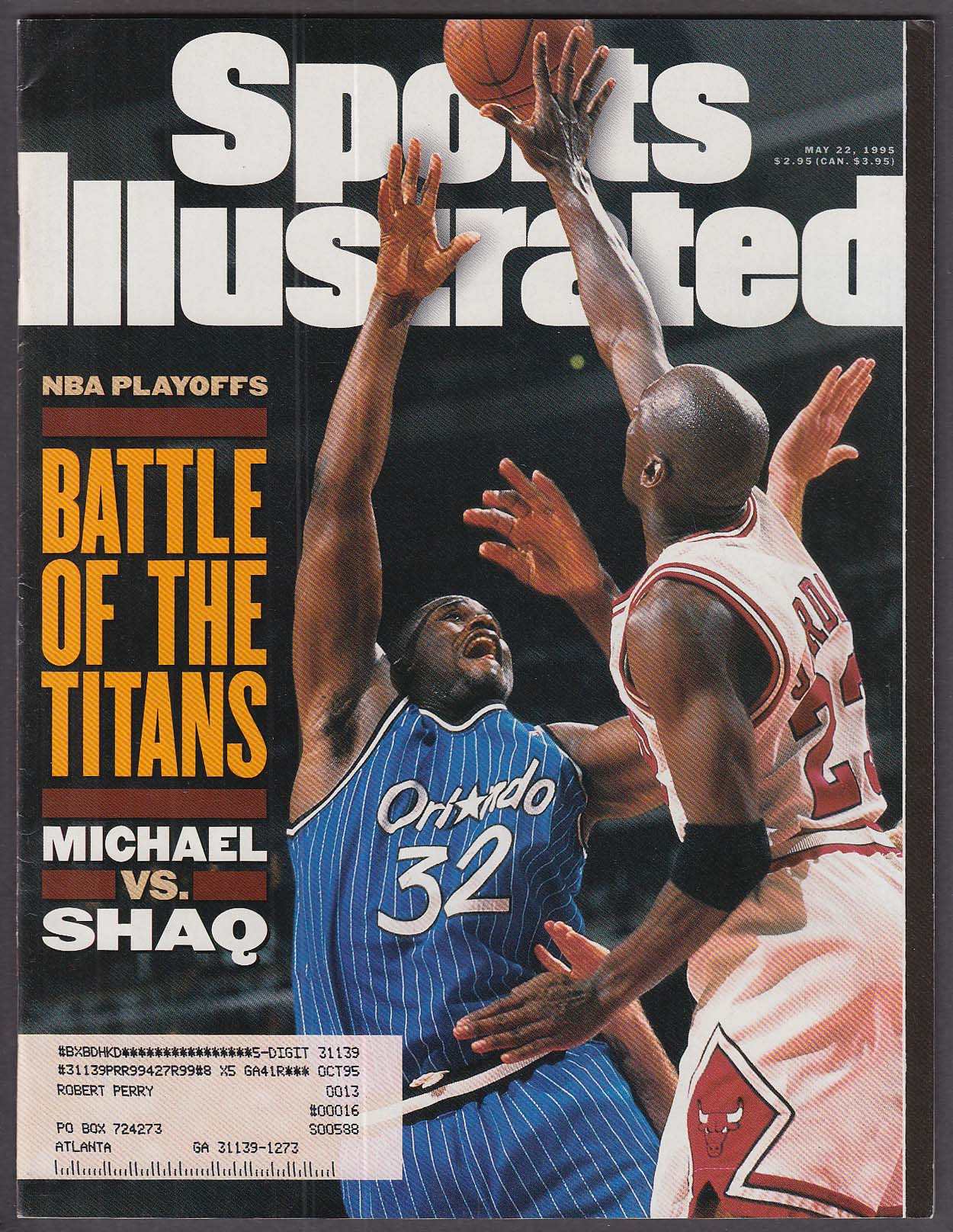 SPORTS ILLUSTRATED Michael Jordan Shaq Shaquille O'Neal Dennis Rodman 5/22 1995
