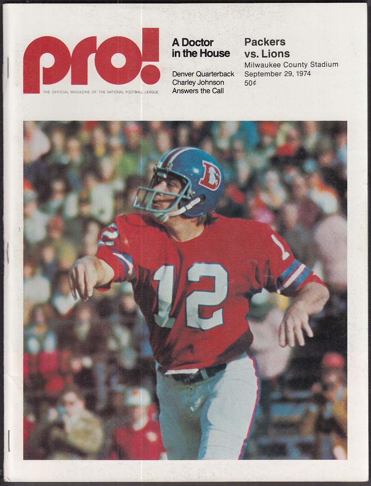 PRO! Charley Johnson 9/29 1974 Green Bay Packers vs Detroit Lions