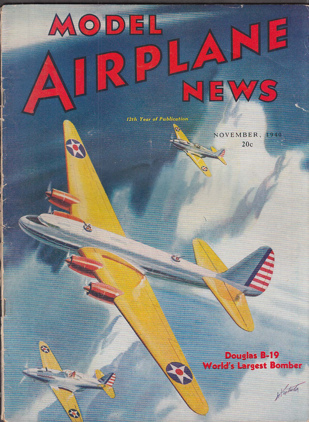 MODEL AIRPLANE NEWS Douglas XB-19 Seversky P-35 Messerschmitt + 11 1940