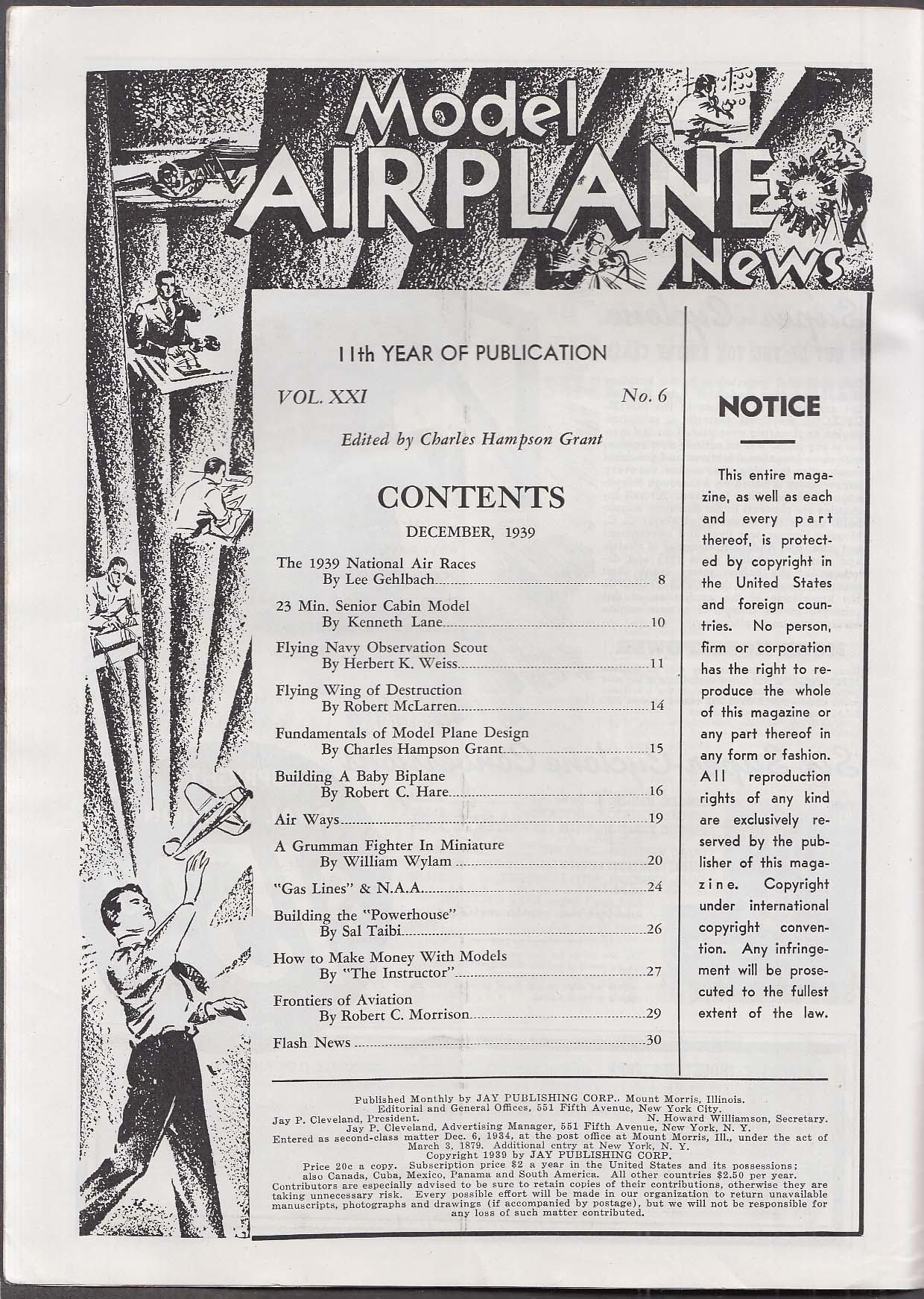 MODEL AIRPLANE NEWS Burnelli Bomber CB-34 Flying Wing Biplane Grumman ++ 12 1939