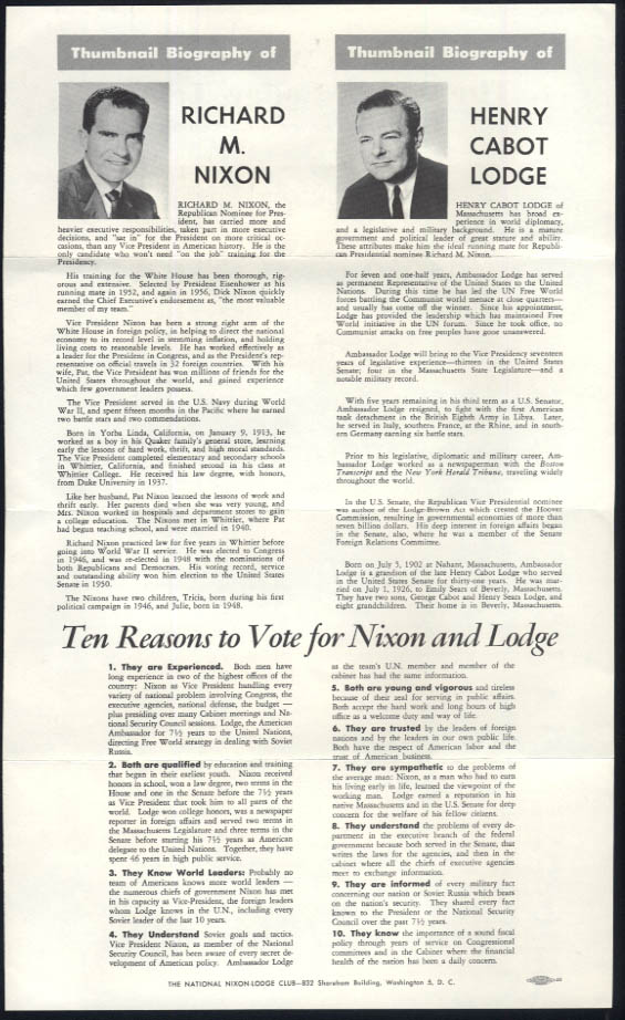 Join the Nixon-Lodge Team for a better America broadside flyer 1960