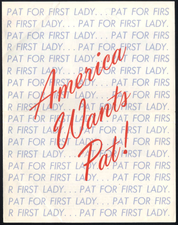 America Wants Pat Nixon for First Lady campaign folder 1960