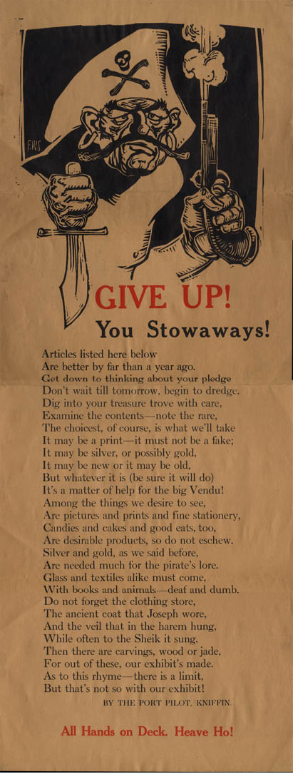 Image for The Stowaways graphic arts group call for donations poster 3rd exhibit 1923