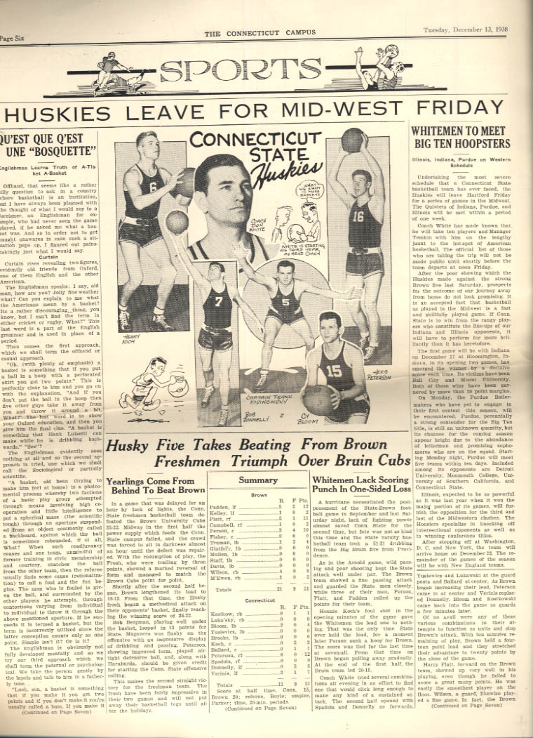 University of CONNECTICUT CAMPUS daily 12/13 1938 basketball swimming