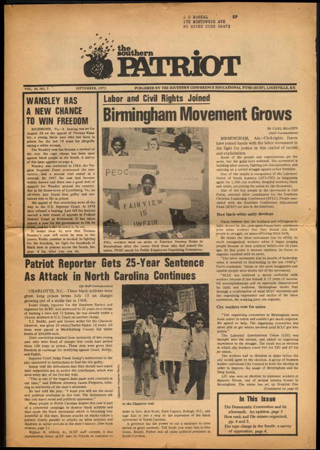 SCEF SOUTHERN PATRIOT 9 1972 Birmingham AL; The Rape Charge; Quincy 5
