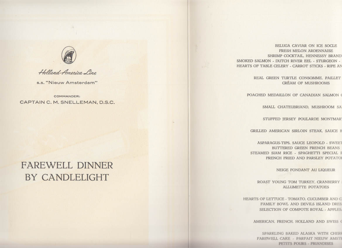 Holland america line s s nieuw amsterdam farewell candlelight dinner holland america line s s nieuw amsterdam farewell candlelight dinner menu 1968 publicscrutiny Image collections