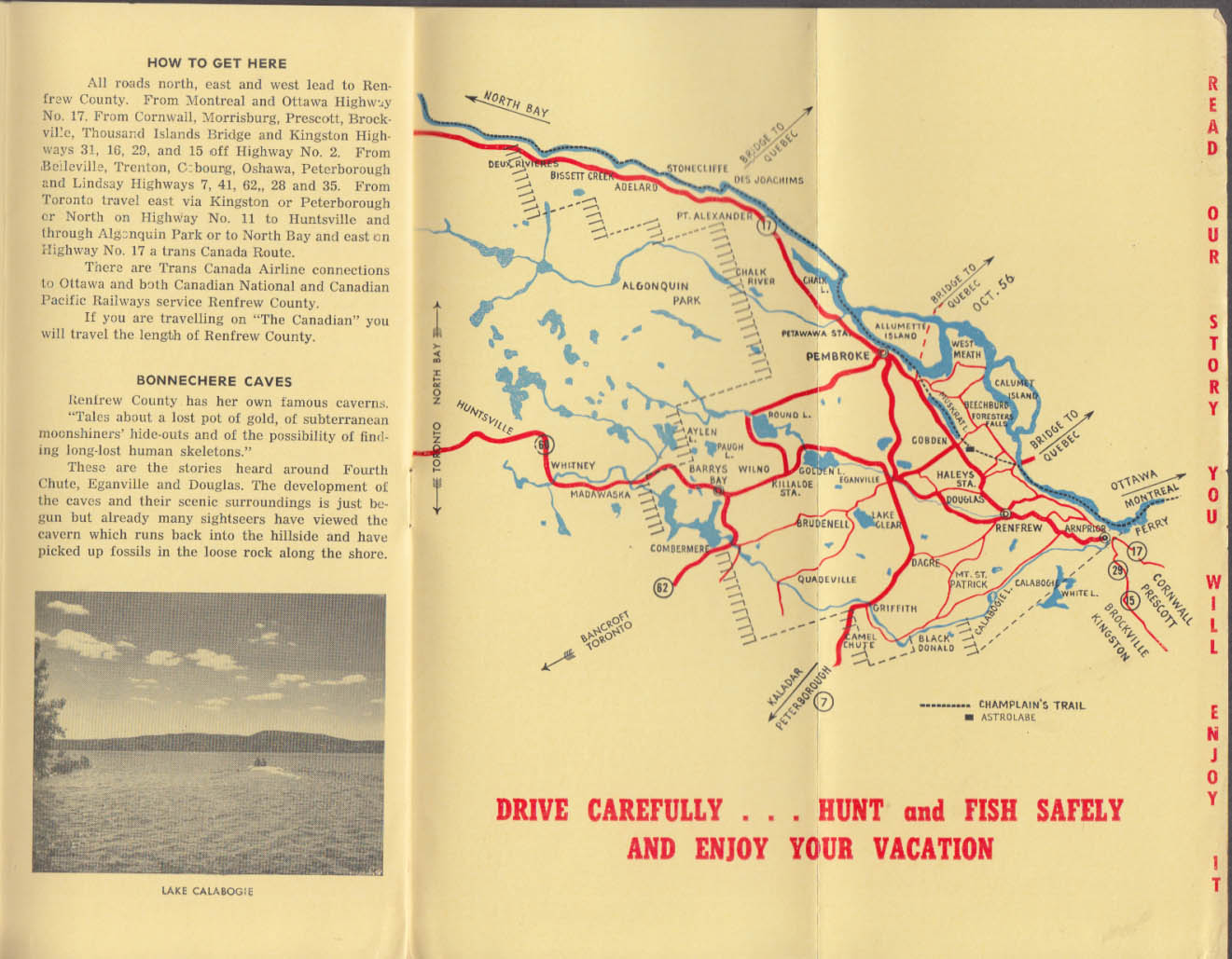 Renfrew County on the Champlain Trail Canada folder with map ca 1950s