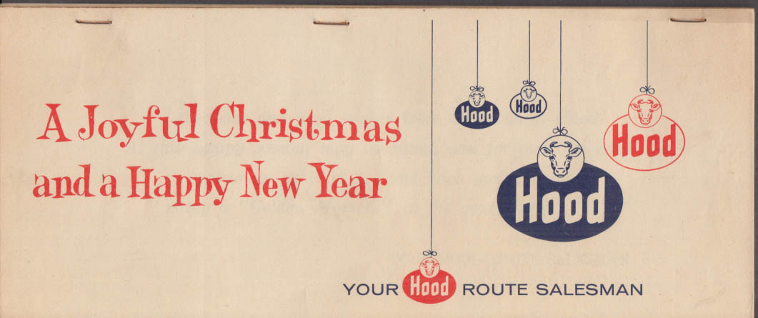 H P Hood Milkman's Gift Calendar to Route Customers 1960