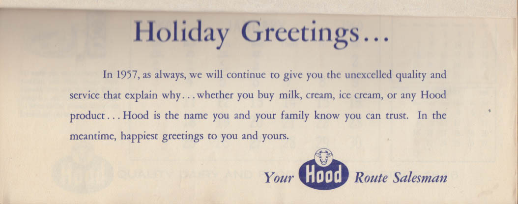 H P Hood Milkman's Gift Calendar to Route Customers 1960 #2