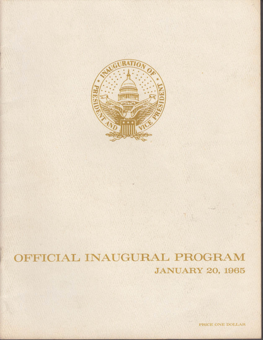 Lyndon Johnson Hubert Humphrey Official Inauguration Program 1965