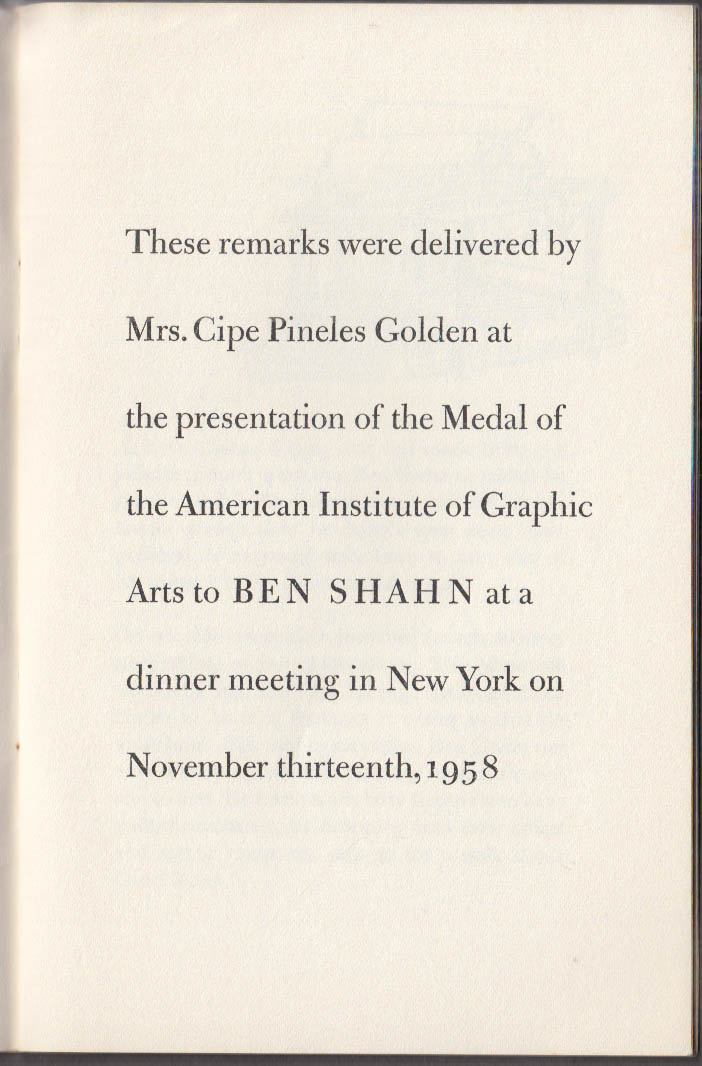 A Medal for Ben Shahn AIGA Keepsake 1958 Mrs Cipes Pineles Golden
