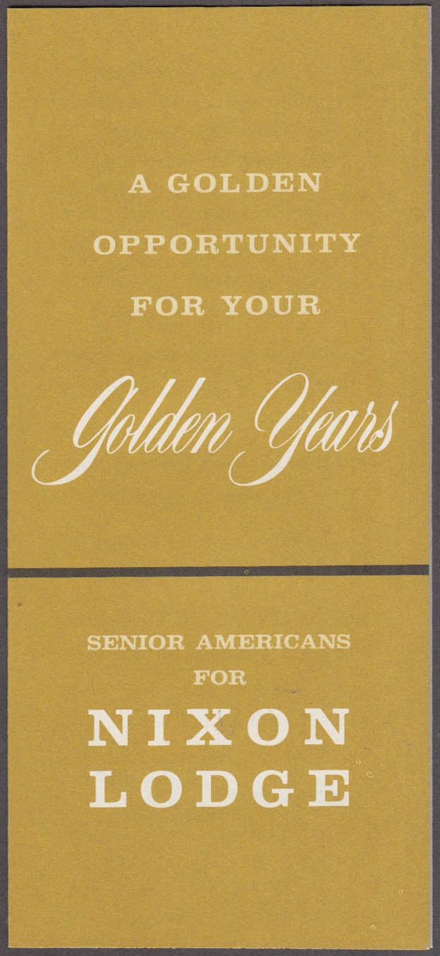 Senior Americans for Nixon Lodge Presidential ticket folder 1960
