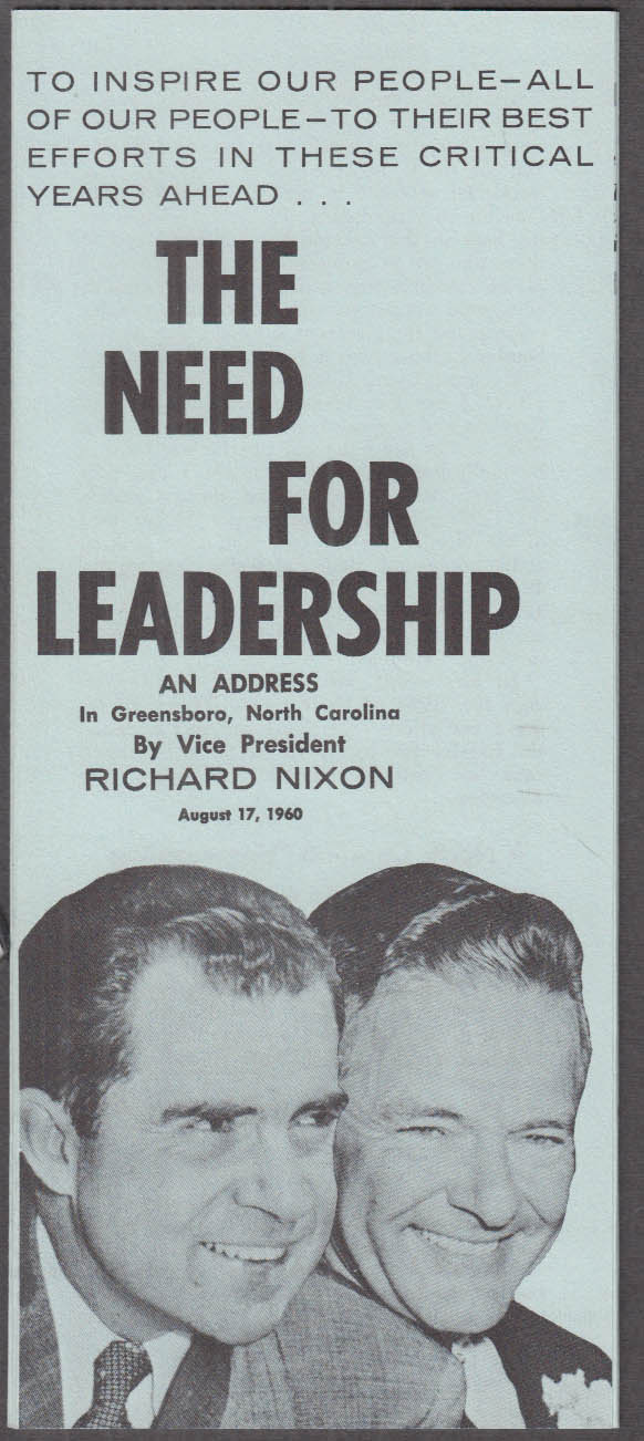 Nixon Address The Need for Leadership campaign folder 1960