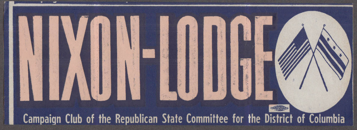 Nixon-Lodge bumpersticker Campaign Club Republican Committee DC 1960