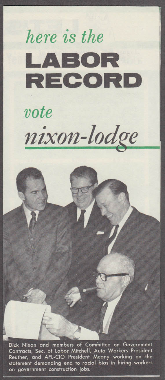 Labor Record for Nixon Lodge Presidential Ticket campaign folder 1960
