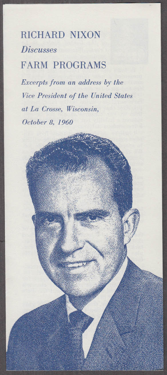 Nixon on Farm Programs: Speech at La Crosse WI 1960 campaign folder