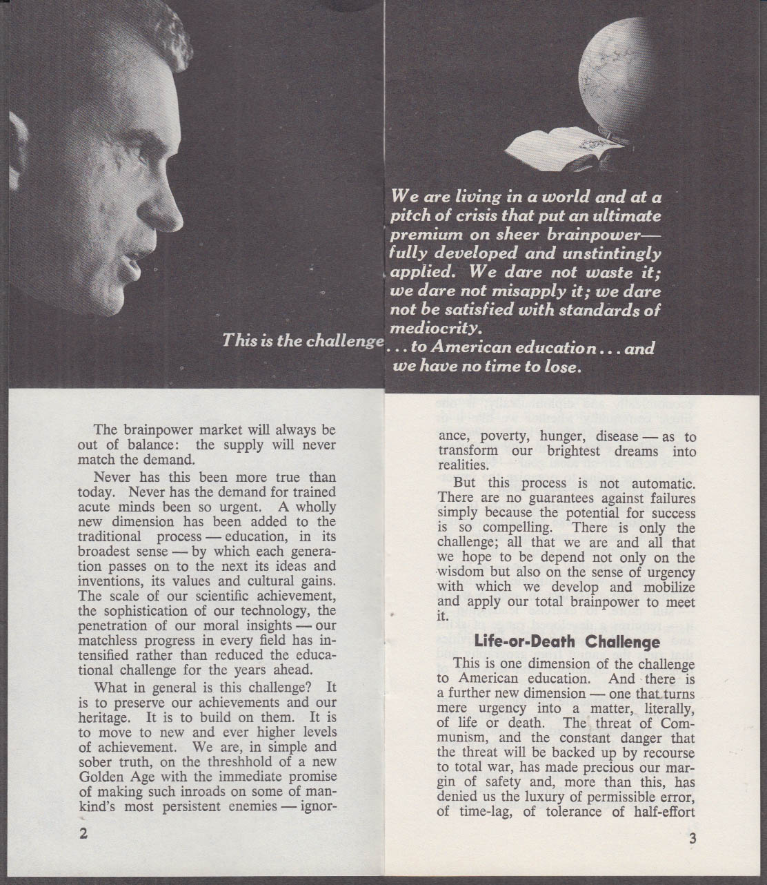 VP Nixon discusses Education Presidential campaign booklet 1960