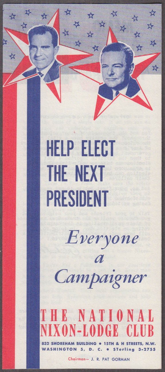 Everyone a Campaigner for President National Nixon-Lodge Club folder 1960