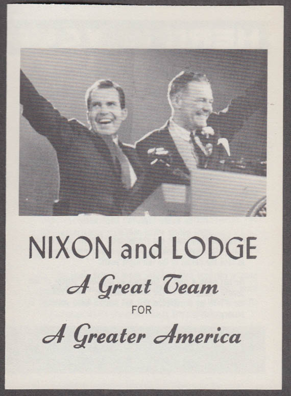 Nixon & Lodge A Great Team for a Greater America campaign folder 1960