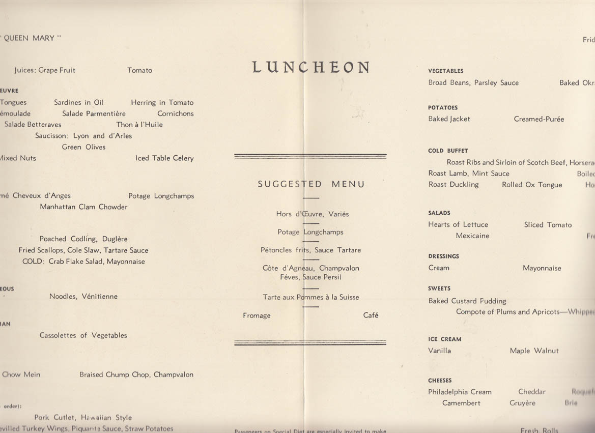 Cunard Line R M S Queen Mary Luncheon Menu 7/4 1958