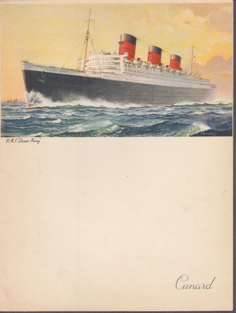 Cunard Line R M S Queen Mary Gala Dinner Menu 7/5 1958