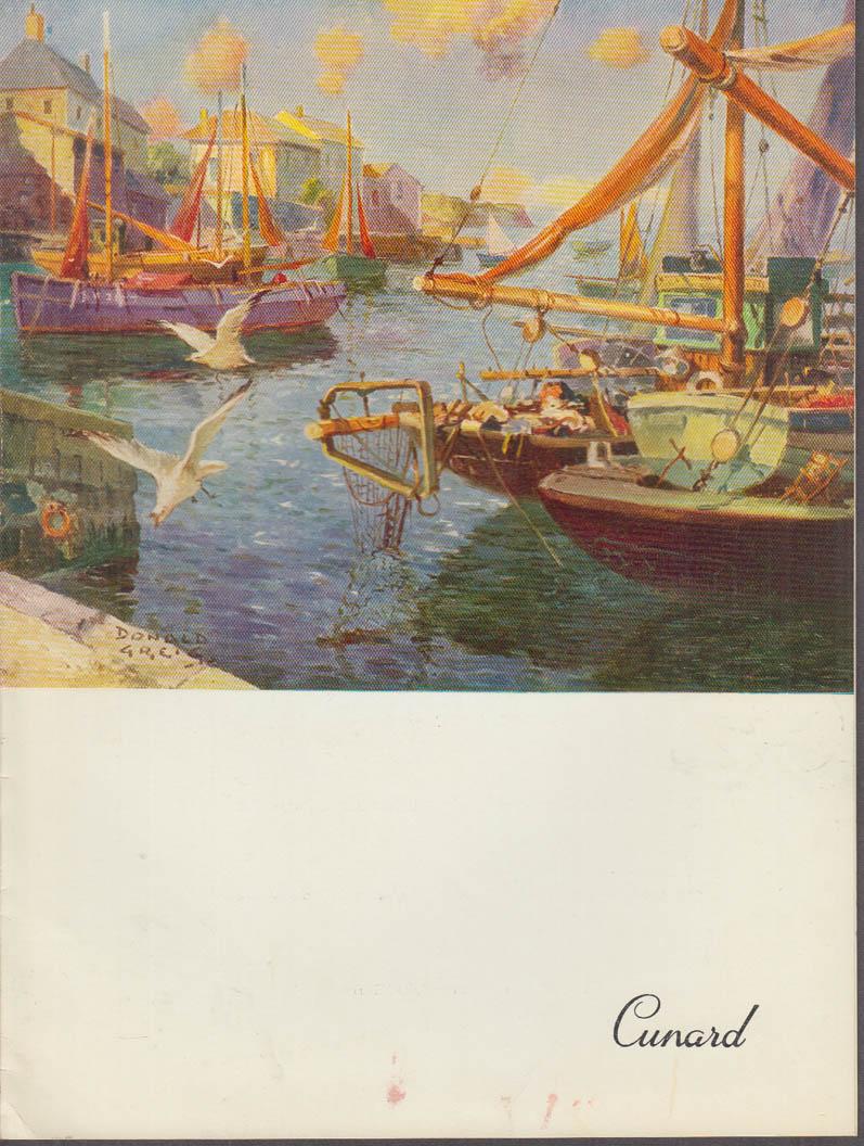 Cunard Line R M S Queen Mary Luncheon Menu 7/7 1958
