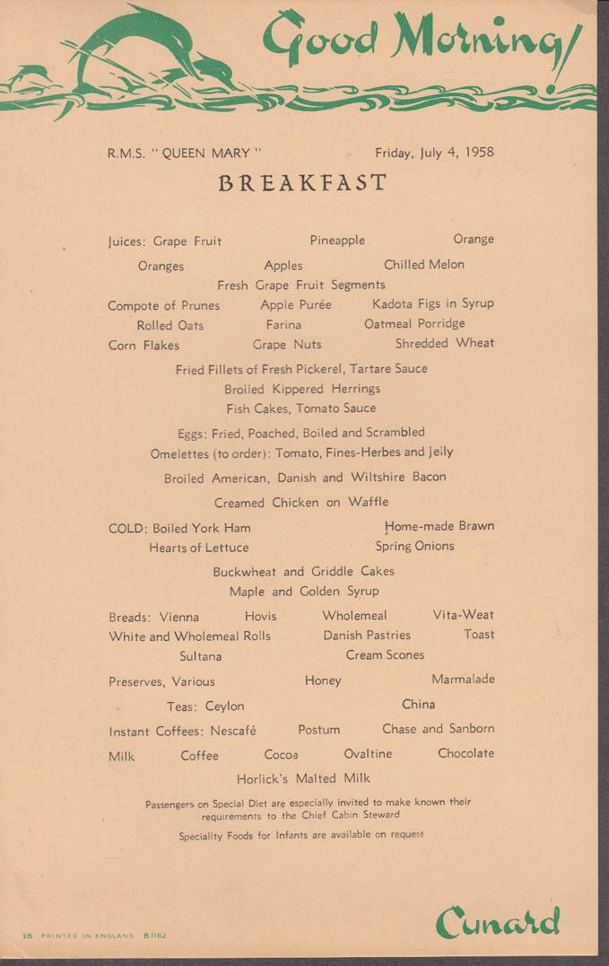 Cunard Line R M S Queen Mary Breakfast Menu Card 7/4 1958