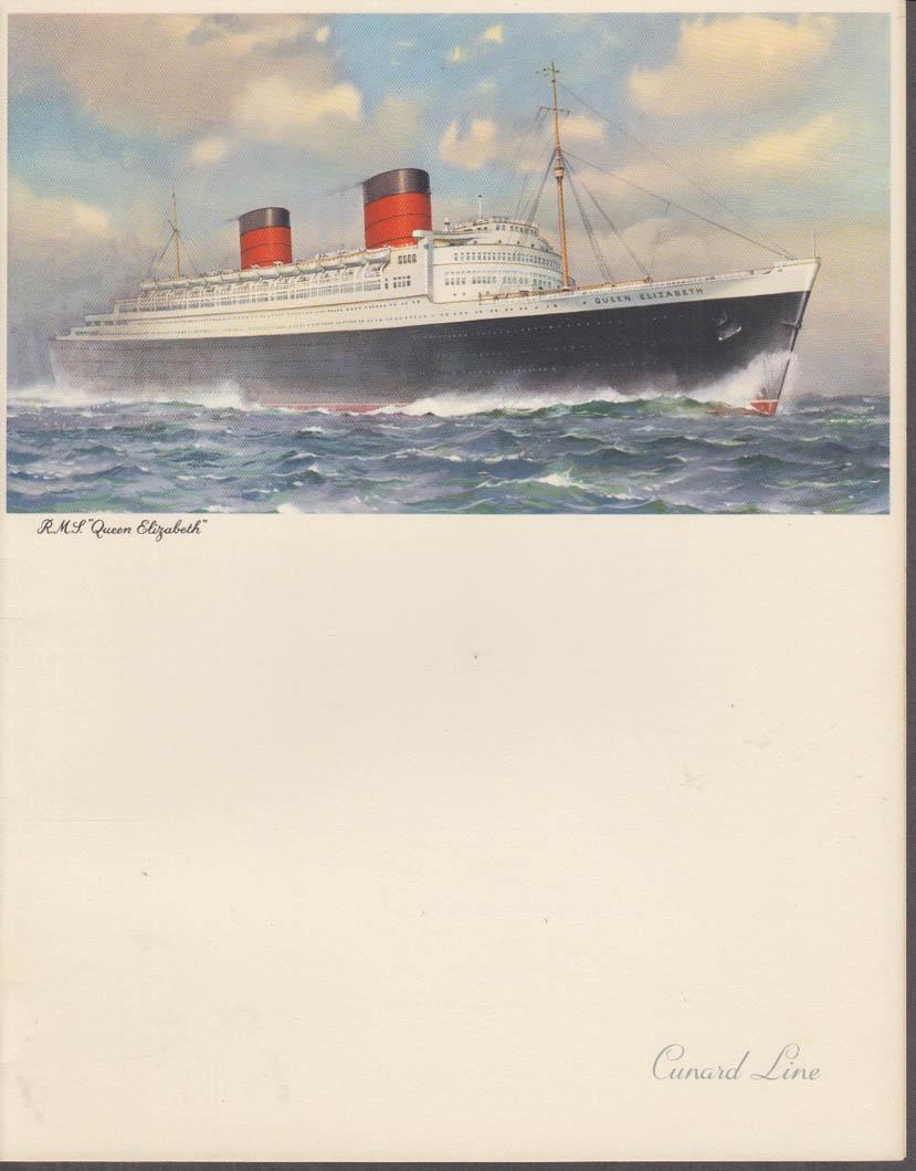 Cunard Line R M S Queen Elizabeth Gala Dinner Menu 8/9 1958 Cabin Class