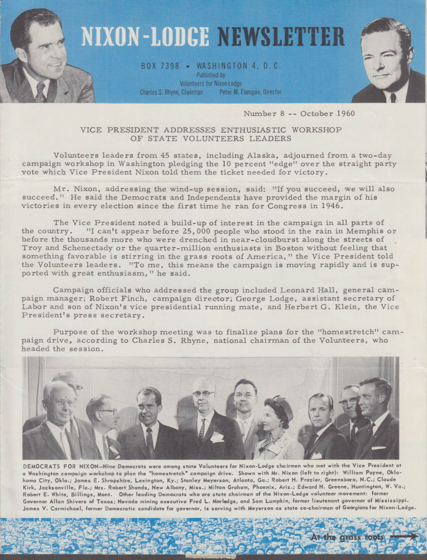 Nixon-Lodge Newsletter 10 1960 RMN addresses State Volunteer Leaders