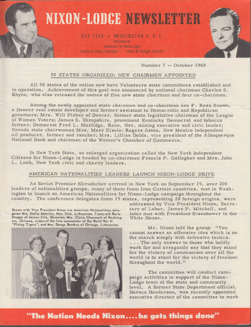 Nixon-Lodge Newsletter 10 1960 50 States Organized, new Chairmen named