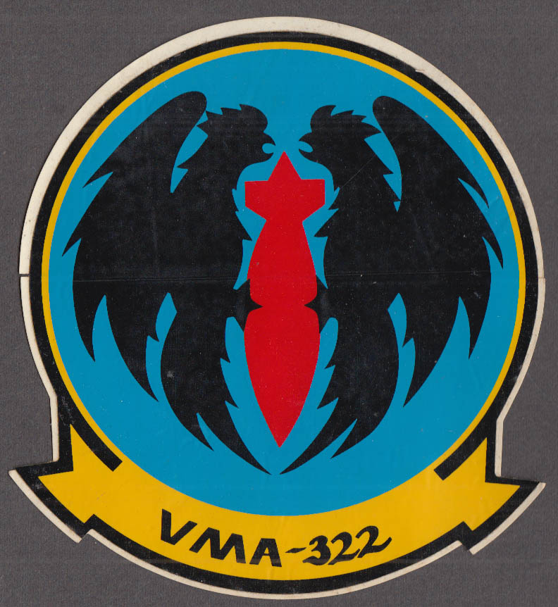 U S Marines VMA-322 Attack Squadron Fighting Gamecocks crack-&-peel sticker