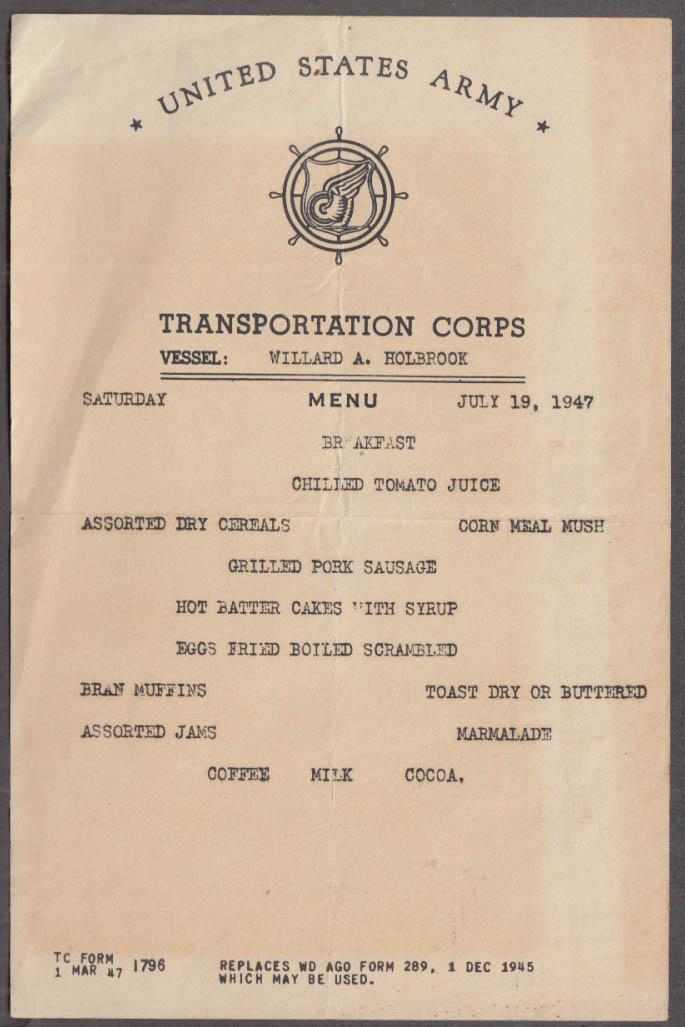 U S Army Transportation Corps U S S Willard A Holbrook Breakfast Menu 1947