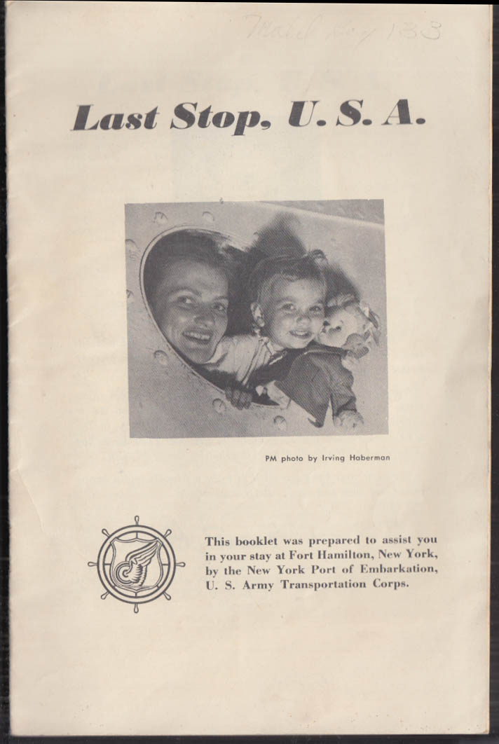 Image for US Army Last Stop USA Port of Embarkation Fort Hamilton NY guide 1947