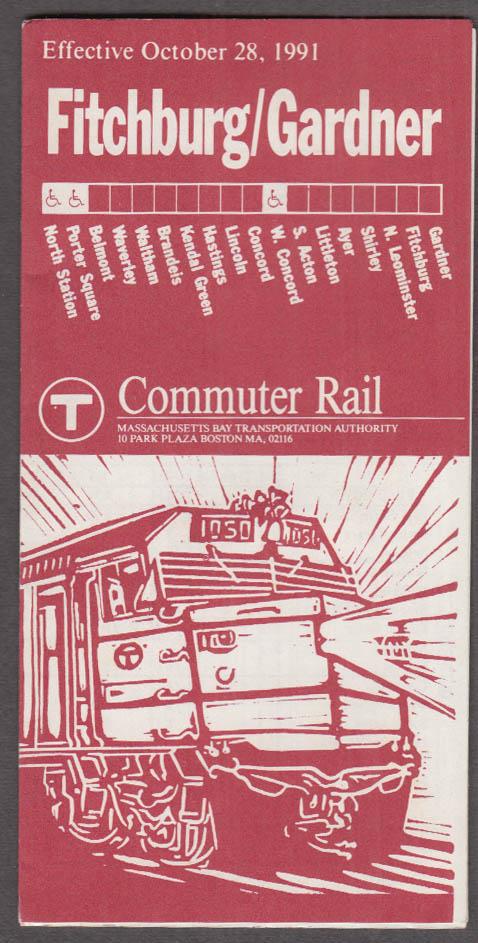 MBTA Commuter Rail Fitchburg / Gardner Timetable 10/28 1991