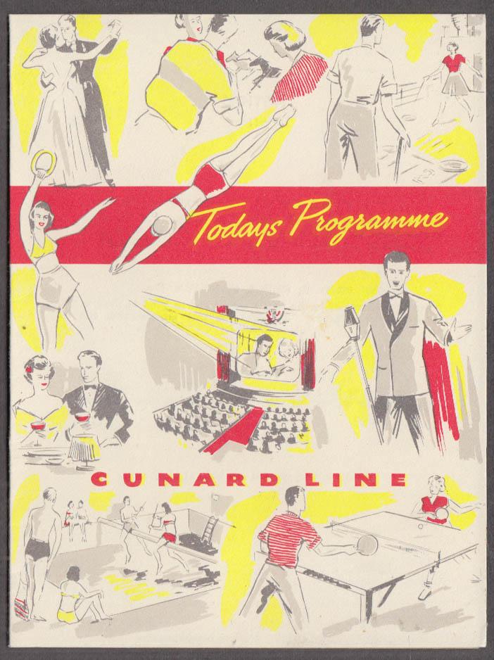 Cunard Line R M S Queen Elizabeth Daily Programme 7/22 1951