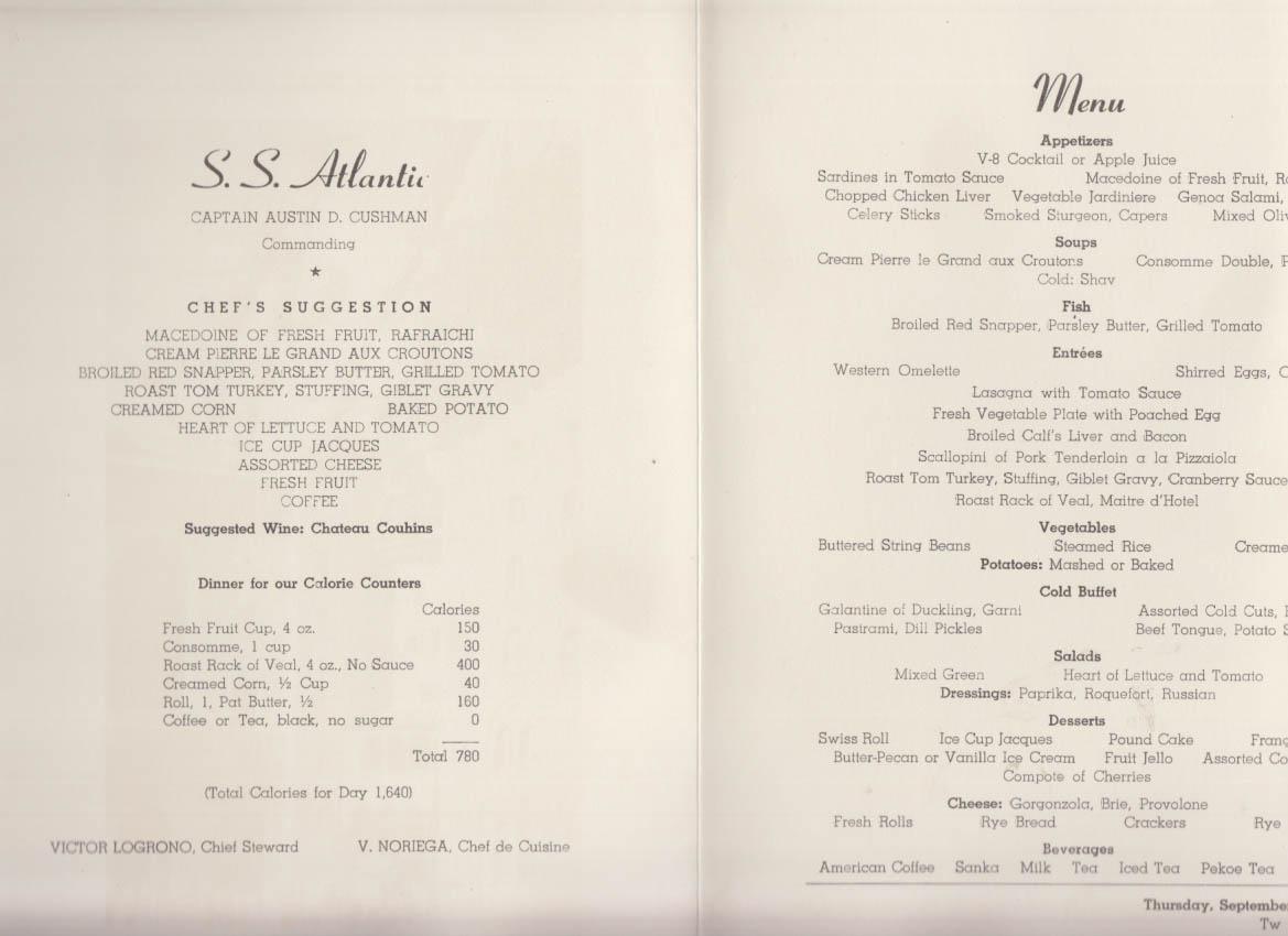 Image for American Export Isbrandtsen Lines S S Atlantic Dinner Menu 9/29 1966