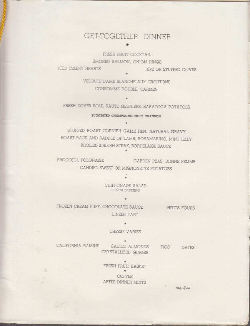 American Export Isbrandtsen S S Atlantic Get-Together Dinner Menu 10/9 1966