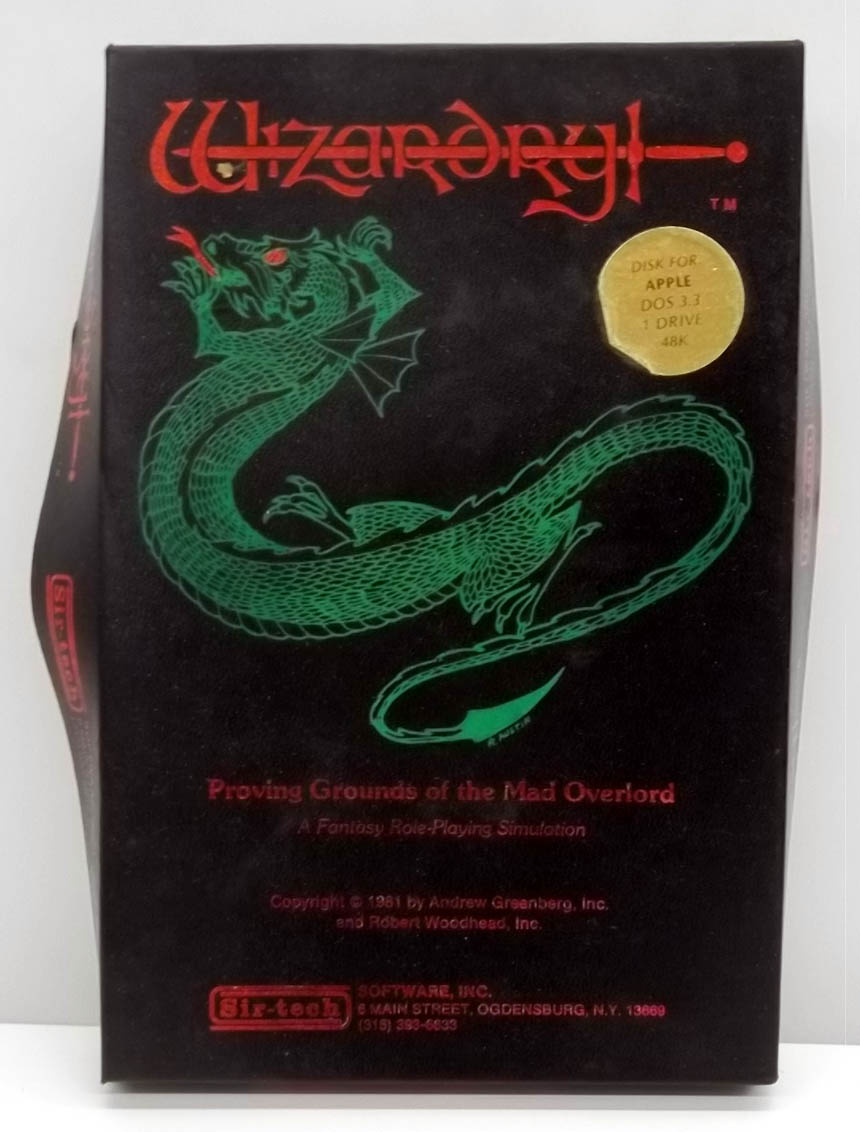 Wizardry Proving Grounds of the Mad Overlord 1981 Apple game boxed