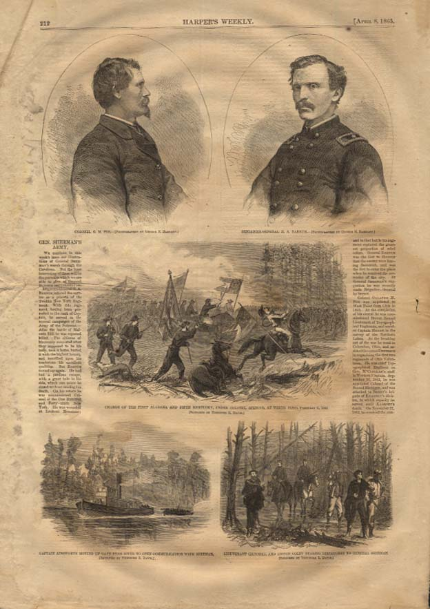 Image for HARPER'S WEEKLY 4/8 1865 Gen Sherman's Army Col P M Poe Gen H A Barnum