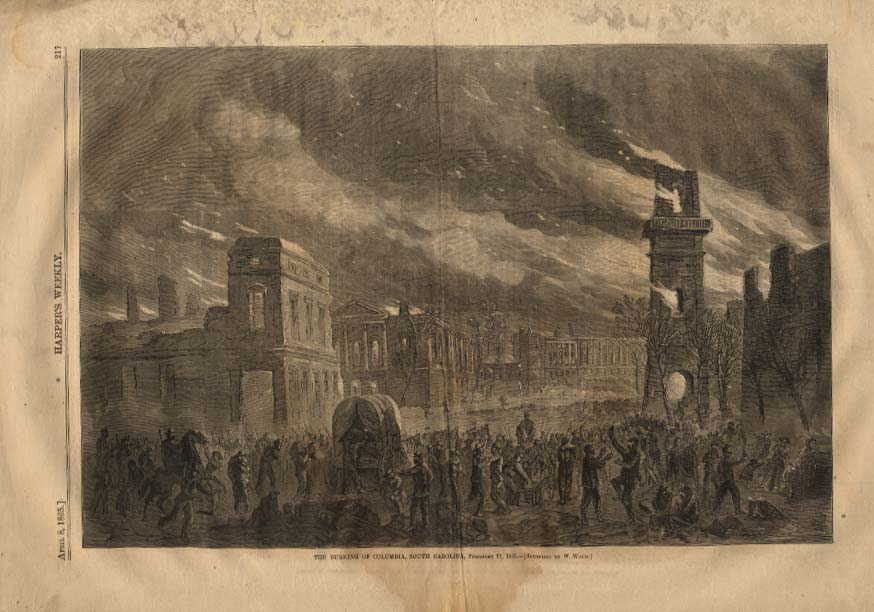 Image for HARPER'S WEEKLY 4/8 1865 Burning of Columbia South Carolina by Waud