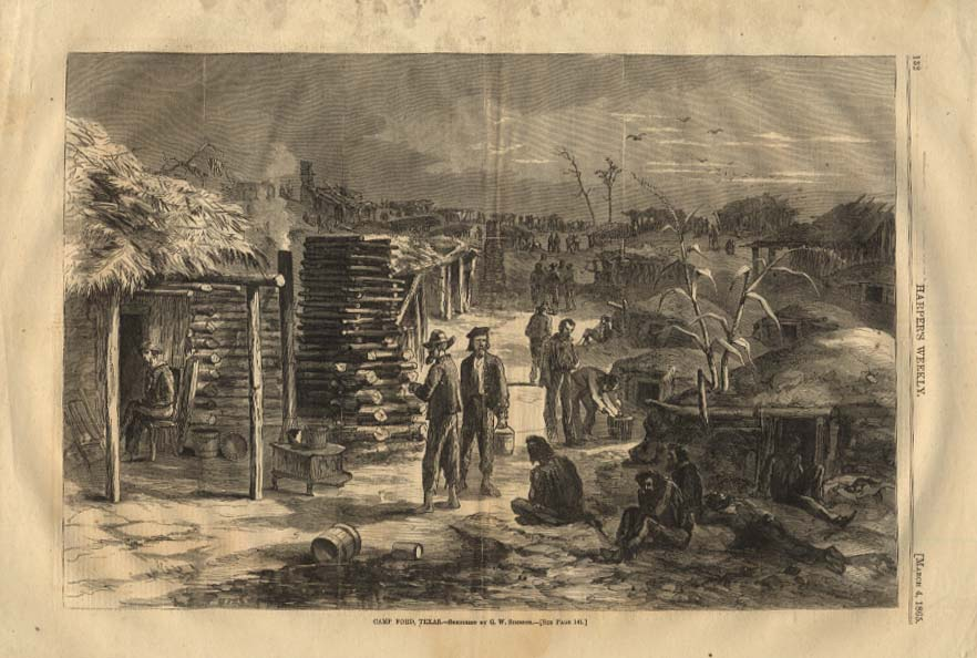Image for HARPER'S WEEKLY 3/4 1865 Camp Ford Texas sketched by G W Simmons